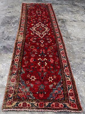 Hand Knotted Semi Antique Persian Tabirz Wool Runner Carpet Rug 10x3 Ft (347AA)
