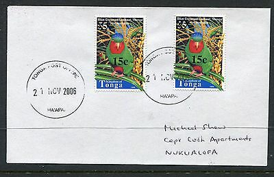 Tonga 2004 Cover, Scott 1108 15s on 55s Bird Surcharge - Used x2 on Local Cover