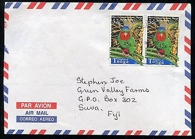 Tonga 2004 Cover, Scott 1114 x2 Bird 45s on 55s Surcharge Used on Cover to Fiji