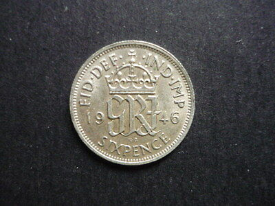George VI Silver Sixpence 1946 (70 years old) FREE  POST
