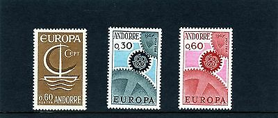 Andorra French 1966 SG F198 -  F200 Europa Ship & Cog Wheels Mint light hinged