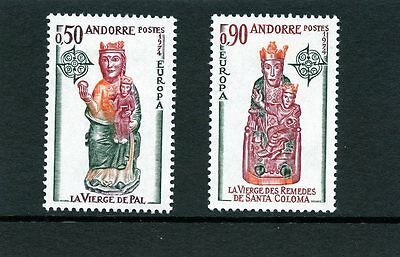 Andorra French 1974 SG F256 F257 Europa  Church Statues  Mint light hinged