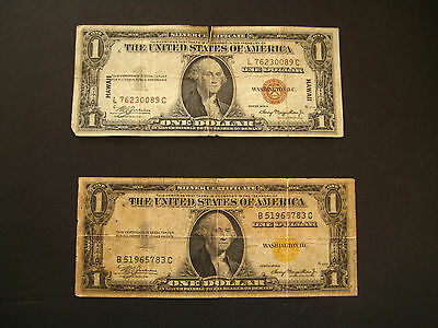 2 1935 A One Dollar Silver Certificates North Africa Yellow Hawaii Brown Seal
