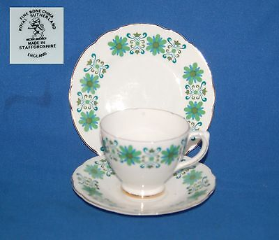Royal Sutherland Bone China Blue/green decorated trio, cup, saucer and plate