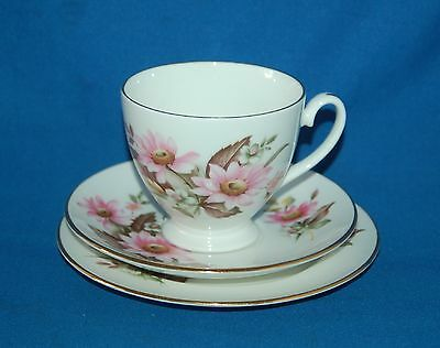 Royal Grafton Bone China Pink floral trio, cup, saucer and plate