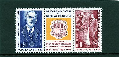 Andorra French 1972 SG F243 244 plus label General de Gaulle Mint light hinged