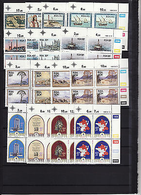 South Africa - 1988/9 4 Sets In Blocks Of 4 Unmounted Mint
