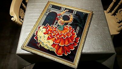 old tapestry picture of a flamenco dancer