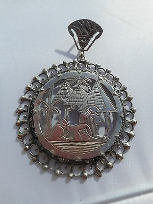 vintage silver egyptian pendant sphinx and pyramids