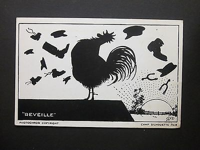 "Comic Military WWII ""Reveille"" Camp Silhouette No.8 Postcard Unposted"