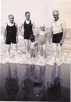 Vintage Old Photo Three Men Boy And Girl In Swimwear Standing In Sea 1930's