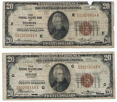 Us Lot Of 2 $20 1929 Federal Reserve Bank Of Chicago & Richmond National Notes