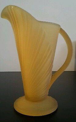 Bagley Art Deco Jug - Ochre Glass Sunburst Pattern
