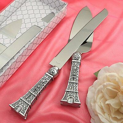 Cake Knife & Server Set - Eiffel Tower Design with crystals - Unique