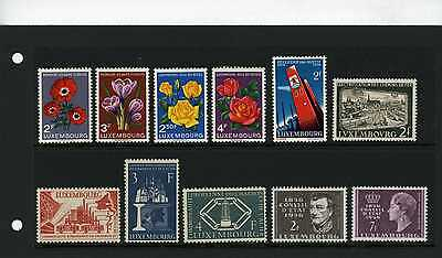 Luxembourg 1956 SG 601 - 608 612 - 614 Flowers E.E.C. etc High Cat value MH
