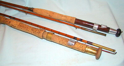 2 Vintage Split Cane Trout  Fly Rods-12Ft & 9.1/2 Ft-3Part With Bags