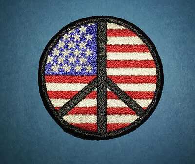 Rare Vintage 1970's American Flag Hippie Peace Symbol Jacket Backpack Patch BB