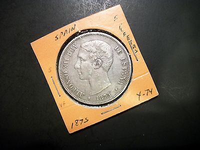Spain 1875 5 Pesetas Silver large foreign coin Alfonso XII Rey