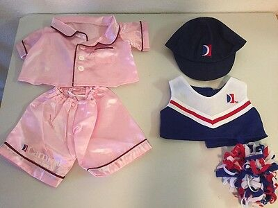 Carnival Cruise Bear Factory 5 pc Clothes Lot Pajamas Cheer Hat Pom Pom Build a