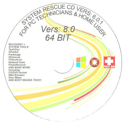 REPAIR & RECOVER + PARTITION WIN 7 XP VISTA System Rescue DVD 5.0.2