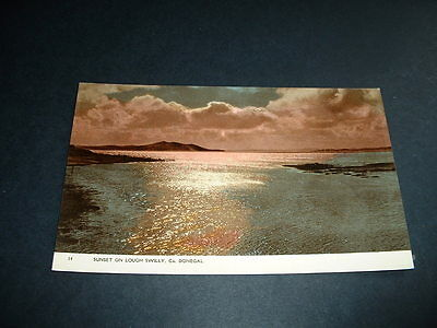 IRISH  POSTCARD LOUGH SWILLY SUNSET Co DONEGALL 1930s  IRELAND