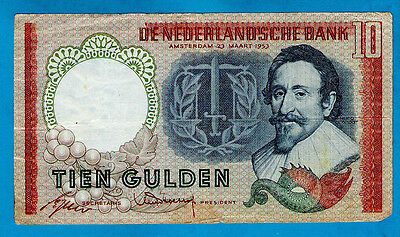 Netherlands P85 10 Gulden HUGO DE GROOT 23.03.1953 gVF+