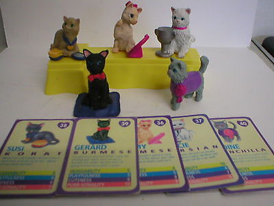 Kitty In My Pocket Vintage Meg Lot Of 5 With Yellow Stand And Cards