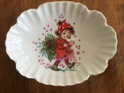 Lefton China Vintage Christmas Trinket Dish Holly Little Girl Stars Japan 443P