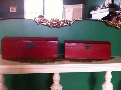 Set of two Chinese Red Wood Boxes