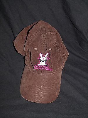 Happy Bunny Brown Baseball Cap Pink I'm not mean, you're just a sissy Jim Benton