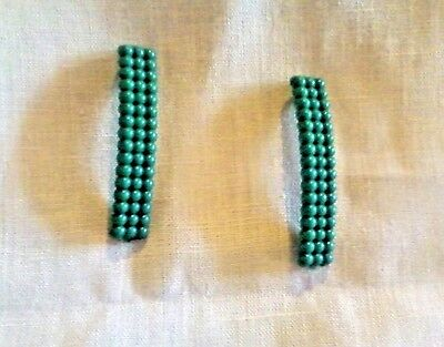 Two Vintage Hair Clips Barrettes Half Spheres in Green Plastic (1980s?) VGC 2.5""