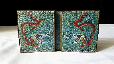 Antique Chinese Cloisonné Red Dragon Trinket Box Two Compartments