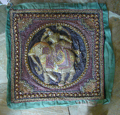 vintage Thai embroidered pillow wall hanging #2