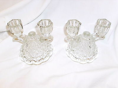 Vintage Imperial Lace Edge Double Candlestick Candleholders Clear Glass