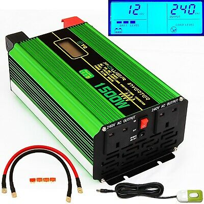 1500W/3000W(Peak) DC12V PURE SINE WAVE POWER INVERTER LCD DISPLAY +REMOTE SWITCH