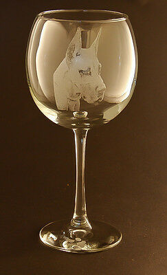 New! Etched Great Dane on Large Elegant Wine Glasses