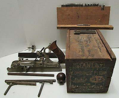 Antque Stanley No.45 Combined Plow And Beading Plane Plus Cutters W/wood Case