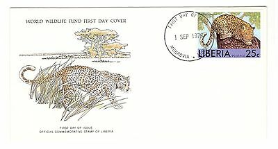 Liberia Fdc 1976 Cat Stamps Wild Cats Wwf Leopard Unaddressed Liberia Stamps