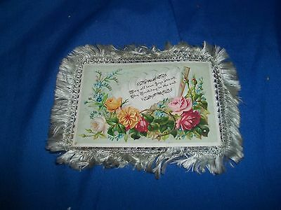Antique Victorian 2 Sided Birthday Card with Silk Fringe