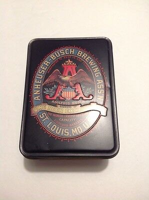 Vintage Anheuser Busch tin and playing cards
