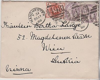 1888 Qv Manchester Cover With Stamps Used In Wien Austria