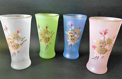 SET OF 4 X VINTAGE 1950s HARLEQUIN FROSTED DRINKING GLASSES WITH ROSE DECAL