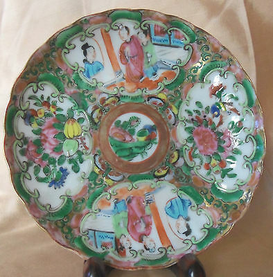 Chinese Rose Medallion Saucer 19th Century Scalloped Edges  F