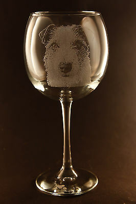 New! Etched Rough Jack Russell Terrier on Large Elegant Wine Glasses