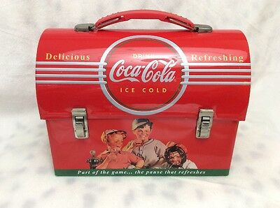 Nice Small Repro Coca Cola Coke Couple Retro Dome Metal Tin Lunchbox