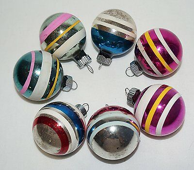 """7 Vintage Shiny Brite Striped Feather Glass Christmas Ornaments 1 1/2"""""""