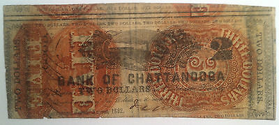 $2 1862 Bank of Chattanooga Obsolete Bank Note