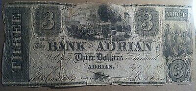$3 1838 Bank of Adrian State of Michigan Obsolete Note