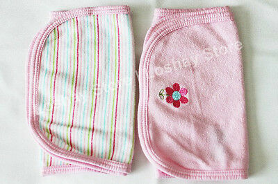 NEW Baby Girl Newborn Gerber Burp Towel Feed Spit Cloth Solid Pink Stripes LOT 2
