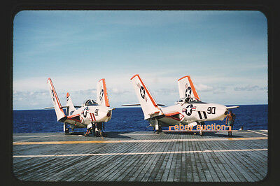 Orig. mid 1950's Slide, Navy Grumman F9F-8P Cougar on USS Essex Aircraft Carrier